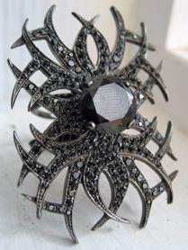 Black diamond 'tattoo' ring