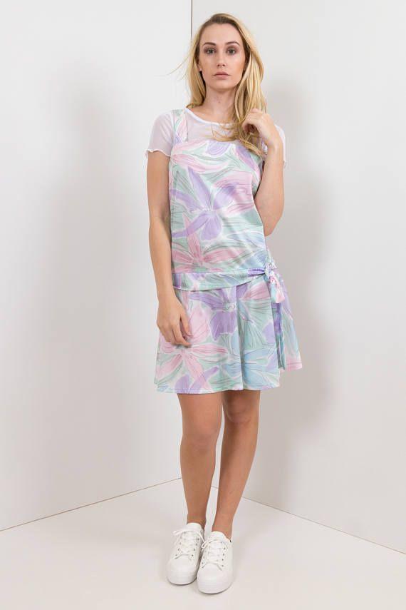 80s Vintage Pastel Floral Print Sundress Dress /Drop-waist Summer Dress, Counterparts Label