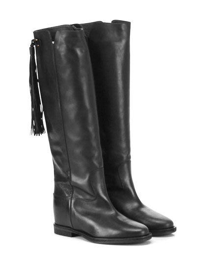Via Roma 15 - Stivali - Donna - Stivale in pelle con frange su retro e suola in…