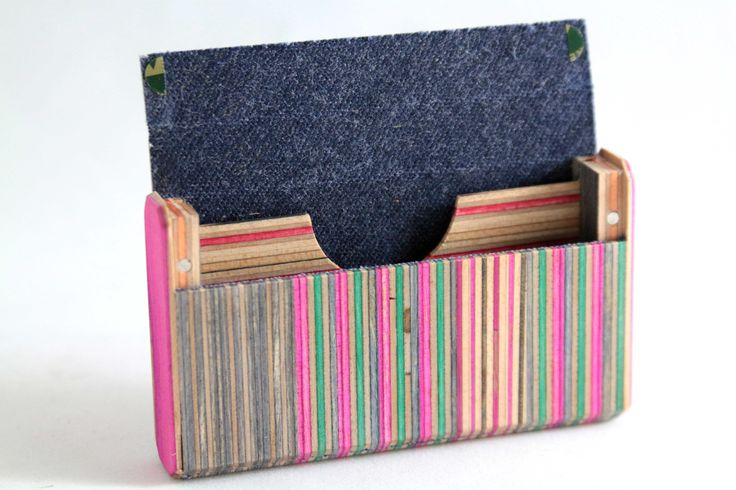 Card holder / wooden wallet   Recycled wood hand made from used skateboards.