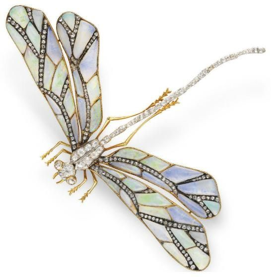Art Nouveau opal and diamond dragonfly brooch.