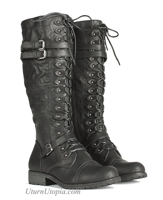 Knee High Combat Steampunk Boots Military /Grunge... - http://www.popularaz.com/knee-high-combat-steampunk-boots-military-grunge/