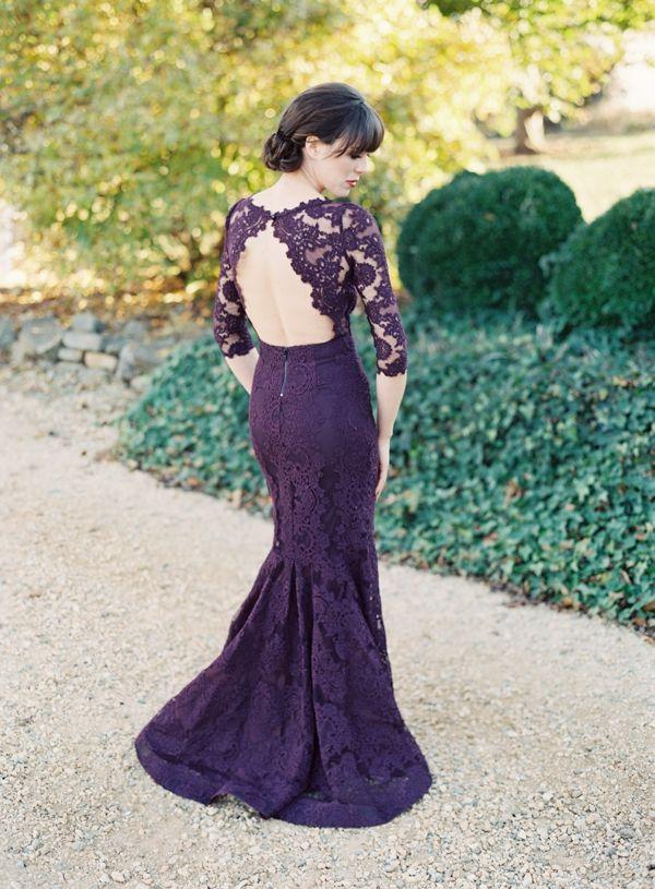 Purple never looked so pretty!  #lacedress #elegantwedding  http://www.weddingchicks.com/2014/02/14/bold-meets-soft-fall-wedding-inspiration/