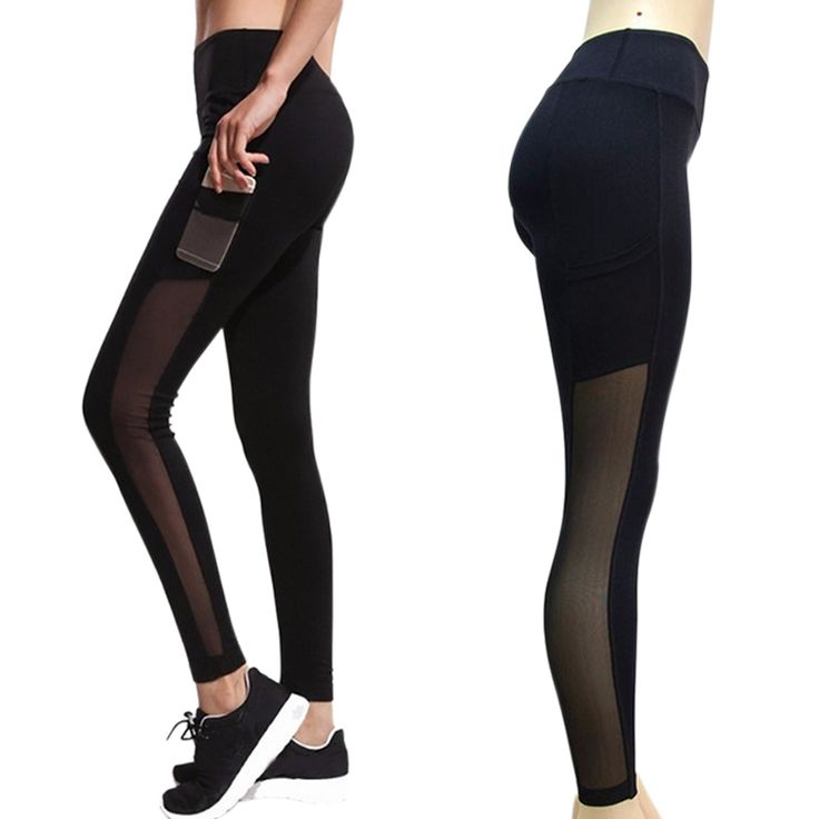 Fashion Leggings Mesh Splice Slim Elastic  Fitness Pants with Pockets //Price: $17.88 & FREE Shipping //     #fitnesslegging