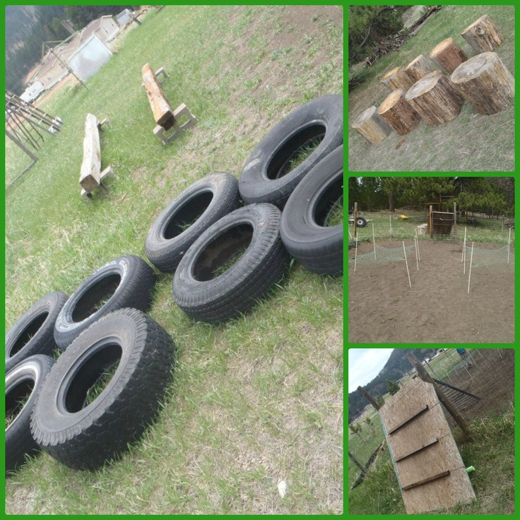 Obstacle Course! Army Birthday Party... old tires, railroad ties, stumps, and dollar store hammocks