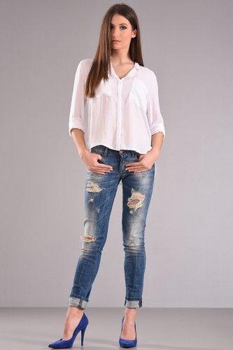 Πουκάμισο με μακρύ μανίκι μαο γιακά ίσια γραμμή με τσέπες στο στήθος σε άσπρο χρώμα από σατέν ύφασμα με επεξεργασία ζαρώματος.    Μεγέθη : Medium / Large  Χρώμα : Άσπρο