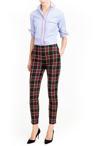 J.Crew Martie Stewart Plaid Stretch Wool Pants (Regular & Petite) available at #Nordstrom