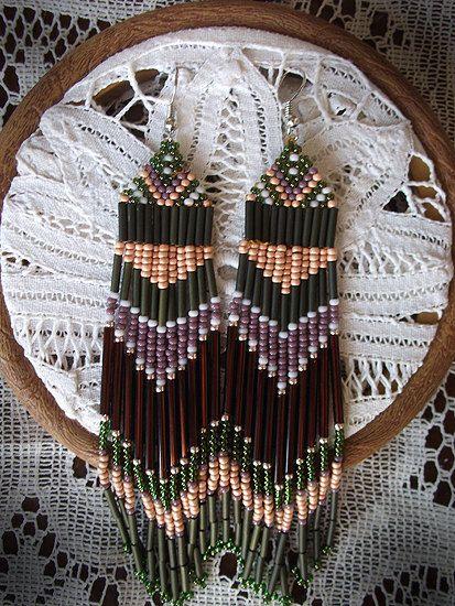 Handmade Native American Beaded Earrings-Army Green, Peach, Purple, Maroon-Made to order. $35.00, via Etsy.
