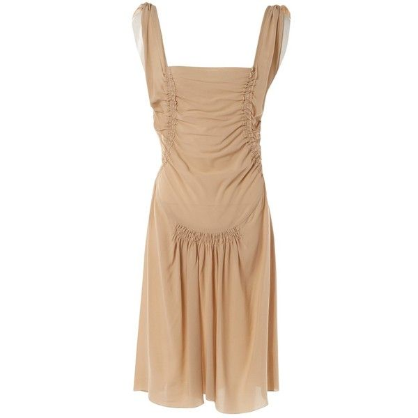 Pre-owned Prada Silk Mid-Length Dress (24.115 RUB) ❤ liked on Polyvore featuring dresses, beige, women clothing dresses, prada dresses, silk dress, ruched cocktail dress, beige cocktail dress and mid length cocktail dresses