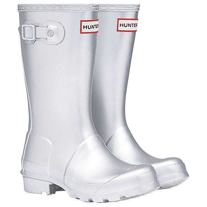 Buy Hunter Children's Original Wellington Boots, Silver, 12 Jnr Online at johnlewis.com