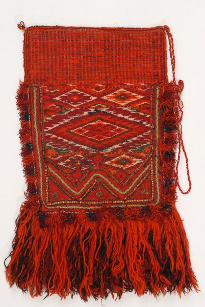 Woollen woven apron with embellished linear and lozenge-shaped motifs, bridal accessory of the women's costume from Antartiko, Florino, Macedonia, Greece. Lyceum Club of Greek Women.