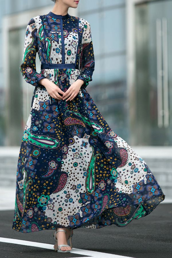 Yb Cadetblue Long Sleeve Printed Vintage Maxi Dress | Maxi Dresses at DEZZAL