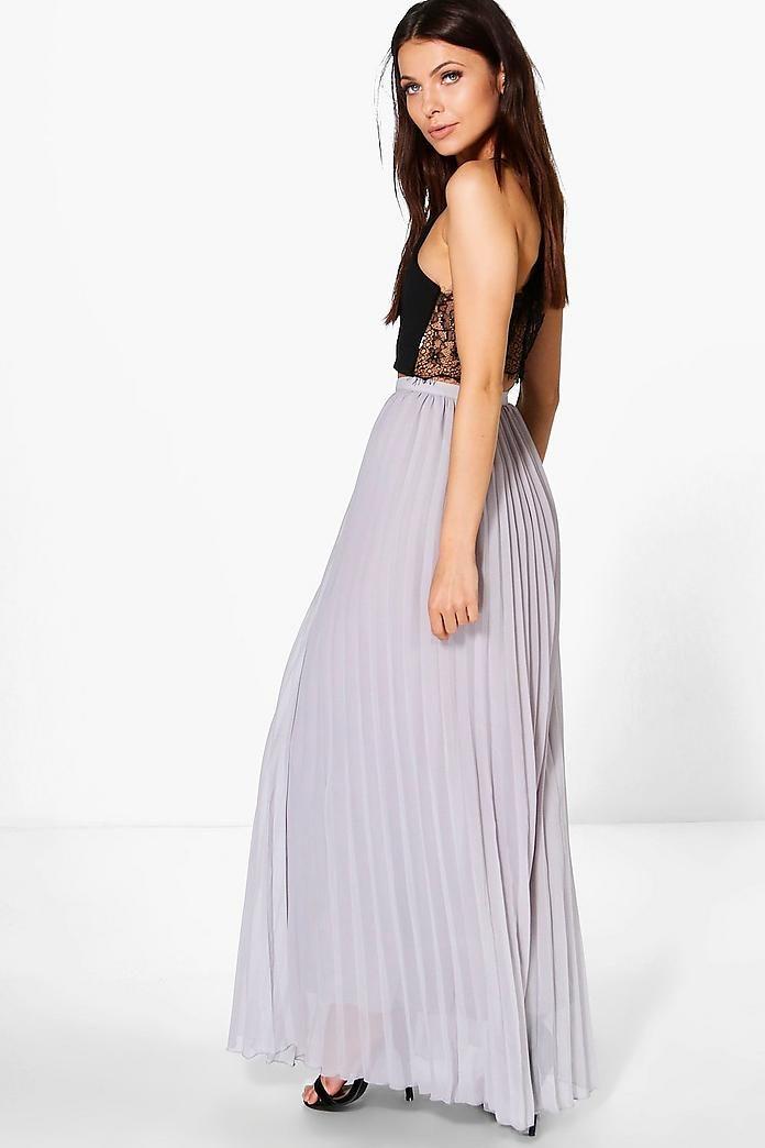 Mia Chiffon Pleated Maxi Skirt UK size 6 (EU34)  Color: Dove