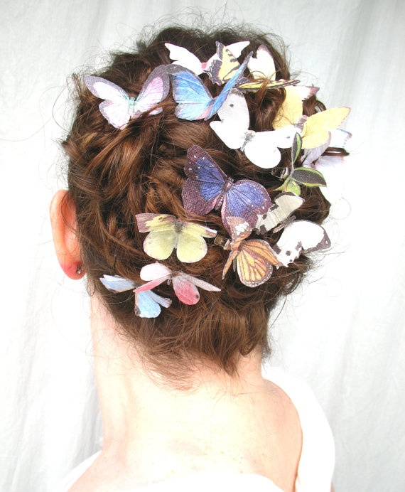 the butterfly house . all sixteen handmade silk butterfly hair clipsFrom katescottage2 $64.00 #weddings #accessories #hair #butterfly #clip #garden #spring #summer #girl #woman #teen #wedding #bride #bridal #faerie #faery #fairy #pink #blue #white #purple #rainbow #whimsical #yellow #insect #bug #green #orange #brown #purpe #dupioni #silk #alligator_clips #butterfly_images