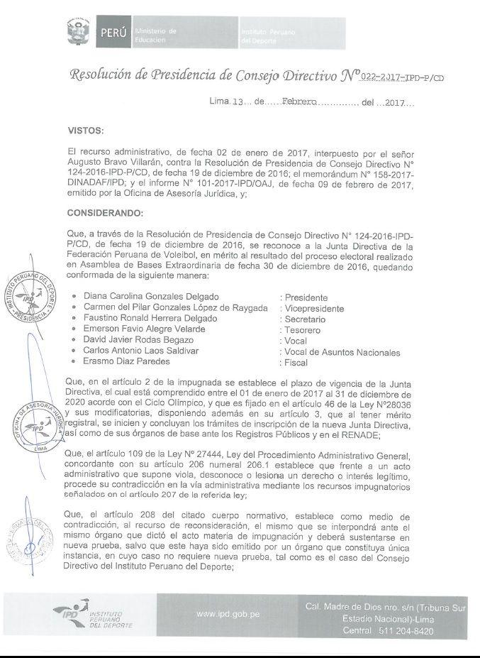 PRESIDENCIA DEL CONSEJO DIRECTIVO DEL IPD Y SEGUNDA SALA DEL CONSEJO SUPERIOR DE JUSTICIA DEPORTIVA Y HONORES DEL DEPORTE DEL IPD TIENEN POSICIONES DIFERENTES SOBRE DENUNCIA A FEDERACIÓN PERUANA DE VOLEIBOL