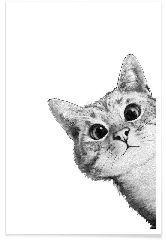 Cute Wallpaper Prints Sneaky Cat Als Premium Poster Door Laura Graves Juniqe