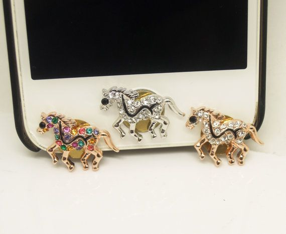 1PC Bling Crystal Horse iPhone Home Button Sticker Charm for iPhone 4,4s,4g,5,5c Cell Phone Charm Friend Gift on Etsy, $4.99