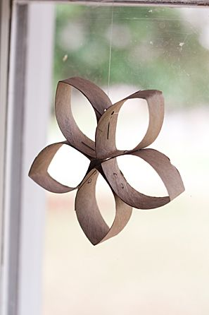 Toilet paper roll flower. Add some paint and make it pretty.