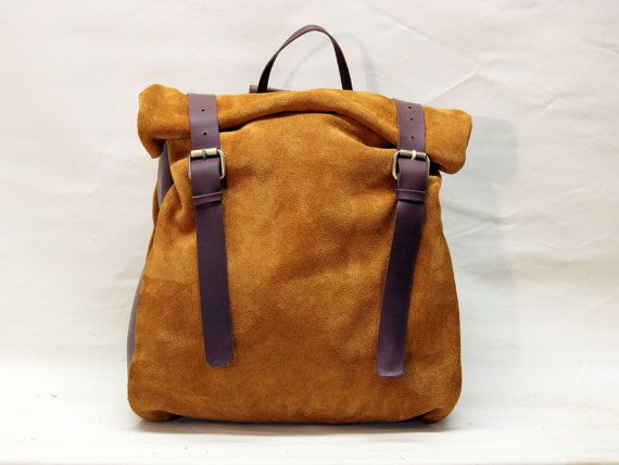 Suede/ Oiled leather roll backpack by SamakLeder on Etsy