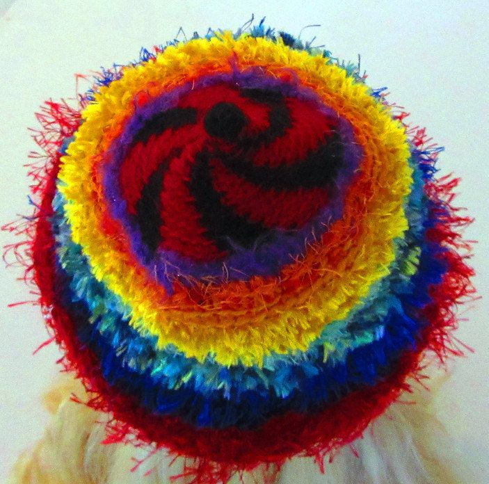 Rouge Black Spiral Crochet Hat Beanie with a rainbow of colour by ArtNomadixMeggaYarnz on Etsy