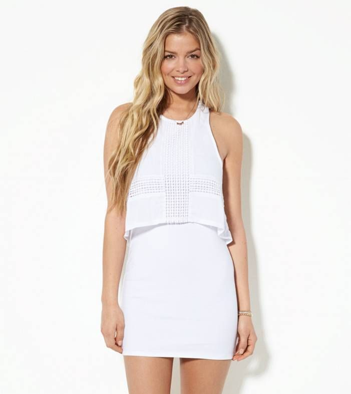 White  AE Overlay Bodycon Dress