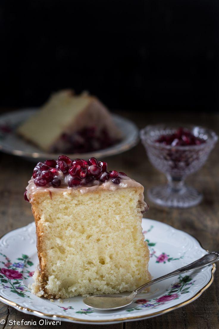 Chiffon cake senza glutine con crema alle nocciole e melagrana #chiffoncake #senza glutine #glutenfree