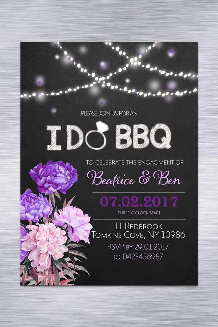 I DO BBQ Engagement Invitation Facebook Cover Image Rustic Peonies Blackboard Custom DYI Print Purple Pink White Black String Lights
