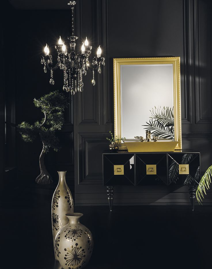 Topex Armadi Art Black & Gold Glass Fiaba Bath Vanity From Our Avantgarde Collection!