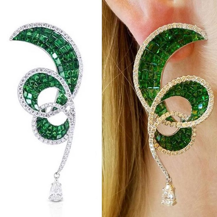 """80 Me gusta, 2 comentarios - Lusine Chilingarian (@realm_of_jewellery) en Instagram: """"Amazing mystery set swirls featuring calibrated emeralds underlined with sparkling diamonds-truly…"""""""