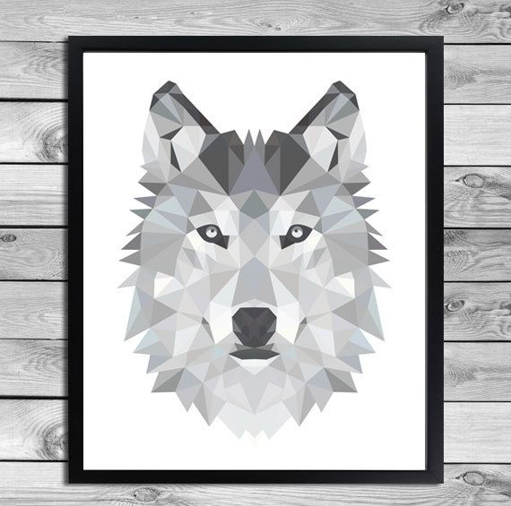 Printable A2 Art Poster Print Black White Grey Wolf Illustration Geometric Animals Cool Kids Room Interior Wall Decoration Digital Download