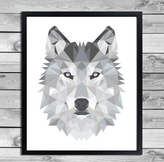 Digital Plakat Geometrische Wolf Illustration von DesignClaud auf DaWanda.com