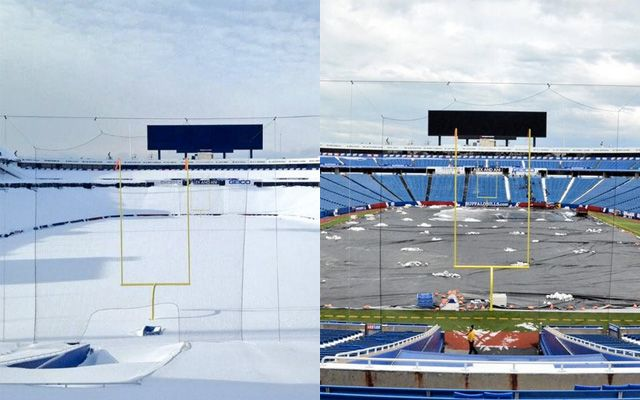 Ralph Wilson Stadium before and after snow removal.
