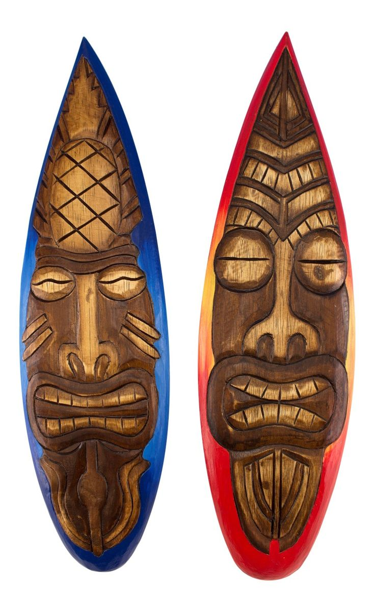 195 best dont tiki me off images on pinterest tiki decor tiki tiki god mask on surfboards wall decor 19 inch plaques set of 2 amipublicfo Image collections