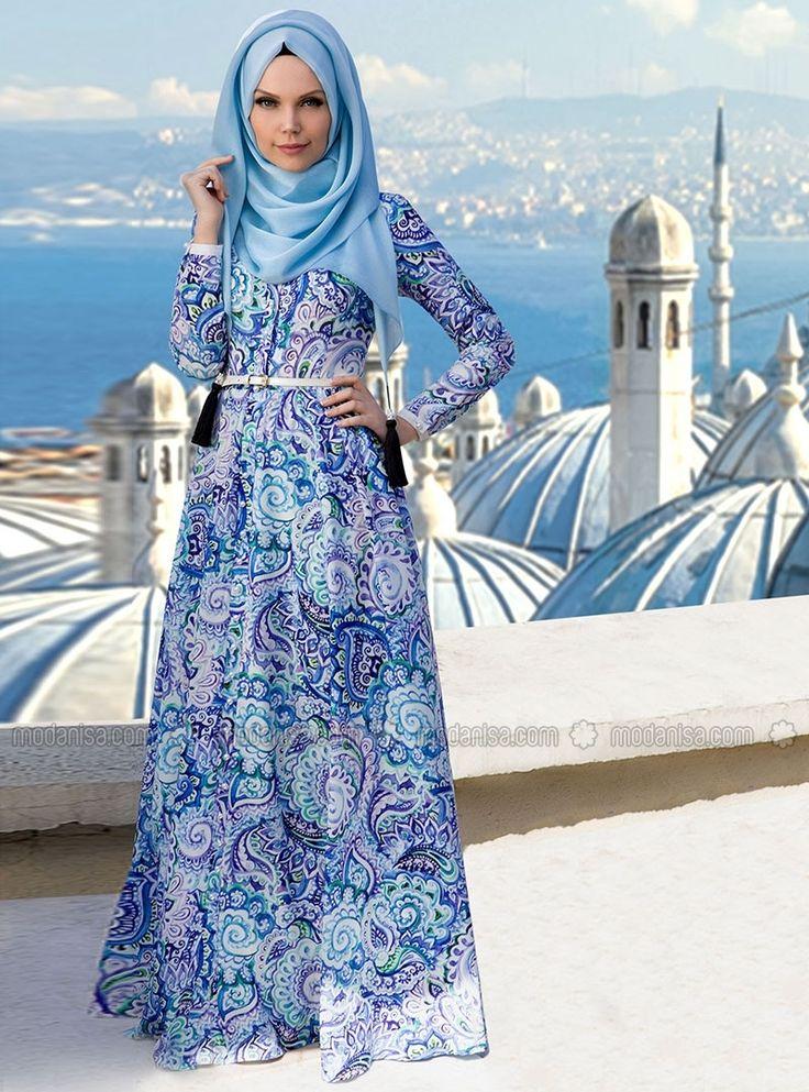 Patterned Dresses - Blue - Muslima Wear