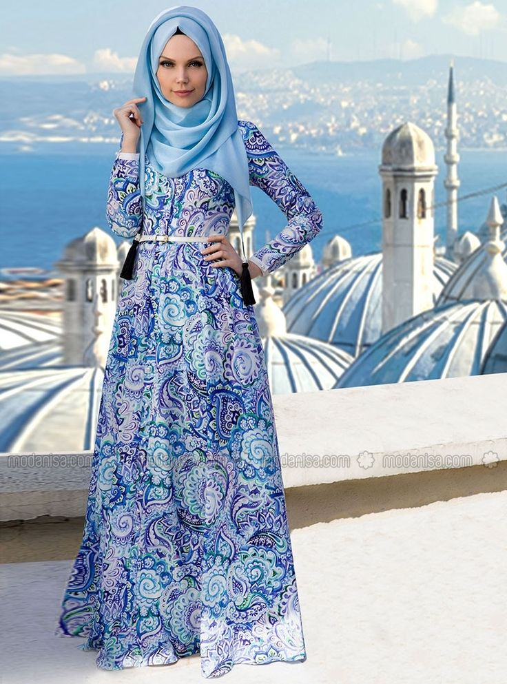 Patterned Dresses - Blue - Muslima Wear