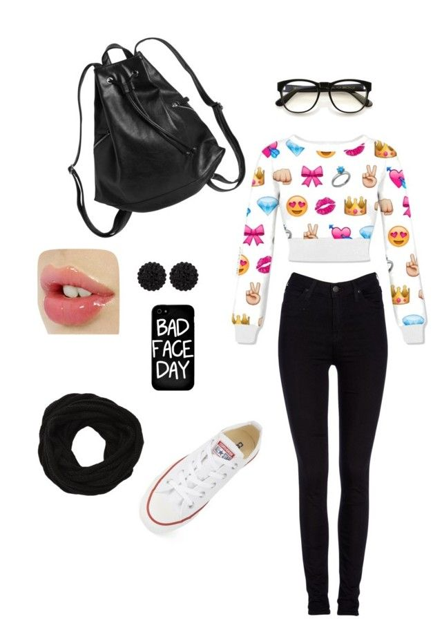 """""""Everyday outfit"""" by dadacookie on Polyvore featuring Lee, Monki, Local Heroes, Wildfox, VILA, sweet deluxe and Converse"""