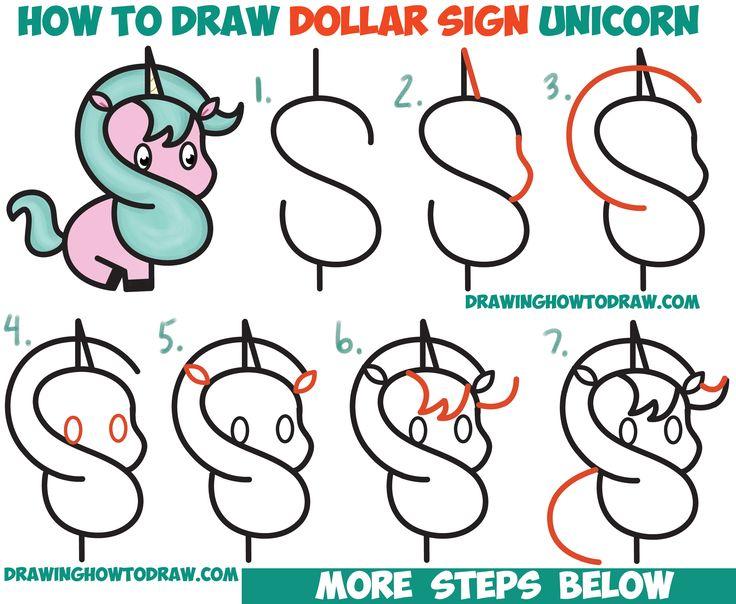 How To Draw A Cute Cartoon Unicorn Kawaii From A Dollar Sign Easy