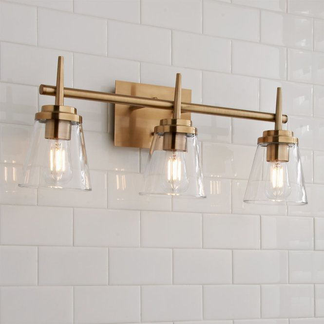 Tapered Spike Vanity Light 3 Light Bathroom Light Fixtures Vanity Lighting Gold Bathroom 3 light bathroom fixtures