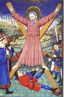 Saint Andrew, Brother of Peter, martyred by crucifixion on an X-shaped cross, now known as Saint Andrew's Cross,  Patron Saint of many countries including Scotland.