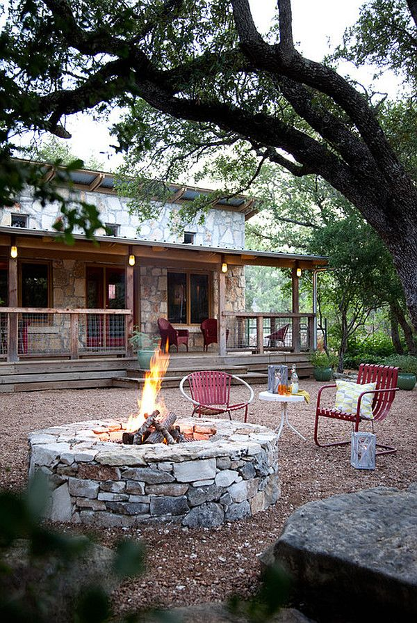 DIY Inspiring Fire Pit Designs: love rustic look
