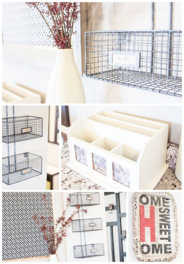 Clear The Counters With A Simply Organized Kitchen Command Center. Great wire baskets.