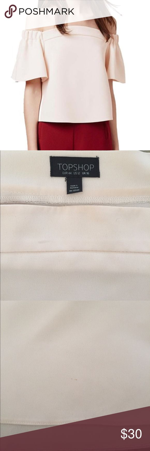 TOPSHOP Cream Bardot Top Off shoulder. Flutter sleeves. A few pin size marks. See pictures, otherwise in good used condition. Topshop Tops Blouses