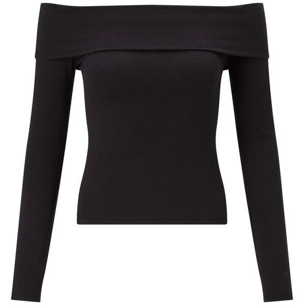 Miss Selfridge Black Fold Over Bardot Top ($27) ❤ liked on Polyvore featuring tops, black, miss selfridge tops, miss selfridge and long sleeve tops