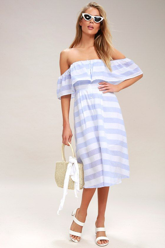 Traverse the tides in style with the Transatlantic Voyage Blue and Ivory Striped Midi Dress! Lightweight cotton fabric, with a blue and ivory striped print, shapes an elasticized, off-the-shoulder neckline, fluttering short sleeves, and a ruffly top tier. Full button placket travels down the front to a midi-length hem. Smocked back. As Seen On Cara of A Fashion Love Affair blog and Cait of @howdoyouwearthat!