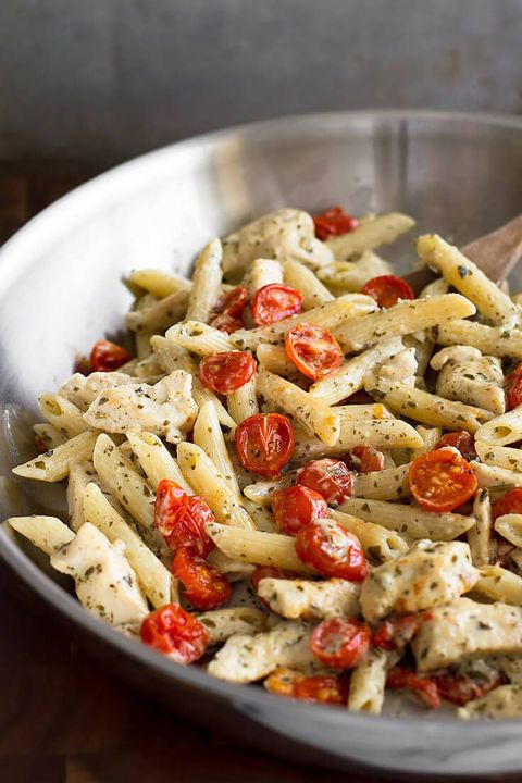 Easily throw together chicken, pasta, pesto, and roasted tomatoes for an irresistible meal for two. Get the recipe at Baking Mischief.