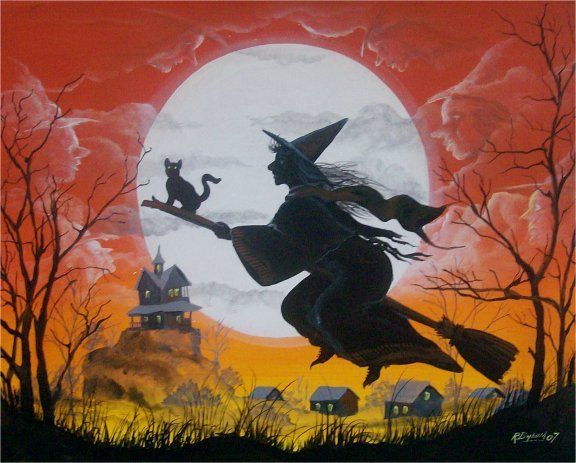 folk art halloween witch flying among clouds look like witches cat unique - How To Look Like A Witch For Halloween