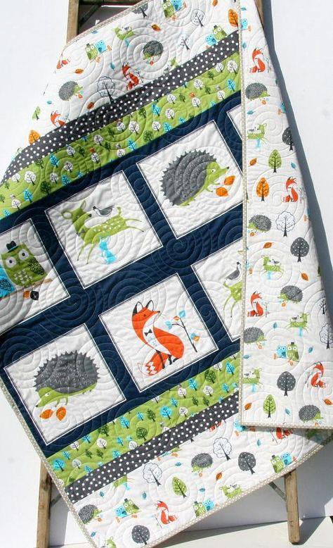 Forest Baby Quilt Boy Modern Trendy Bedding Nursery Blanket Toddler Fellows Fox Deer Hedgehog Owls Bright Green Navy