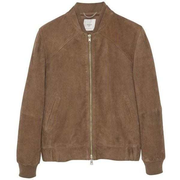 MANGO MAN Suede Bomber Jacket ($250) ❤ liked on Polyvore featuring men's fashion, men's clothing, men's outerwear, men's jackets, mens suede bomber jacket, mens suede jacket, mens zip jacket, mens fur lined bomber jacket and mens suede leather jacket