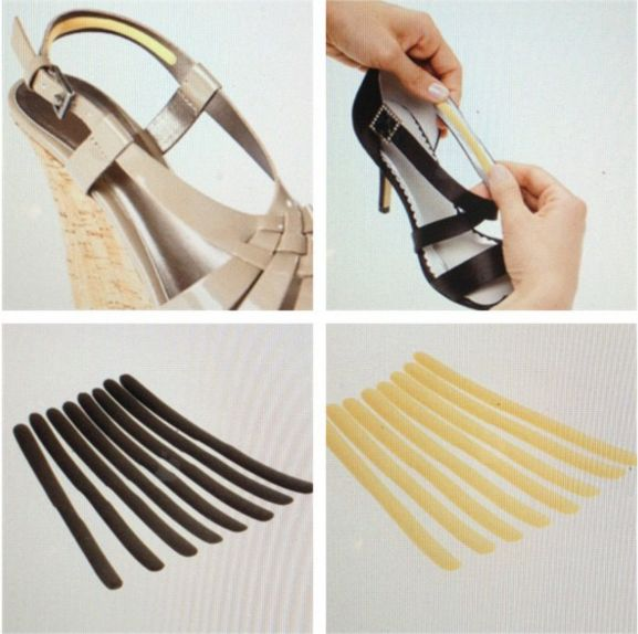"""Usa <a  href=""""https://www.amazon.com/dp/B000HCGIX4?tag=bfaugusta-20&ascsubtag=4237756%2C4%2C8%2Cmobile_web%2C0%2C0"""" target=""""_blank"""">almohadillas en las tiras de los tacones de cuña</a> para que tus pies estén más cómodos."""