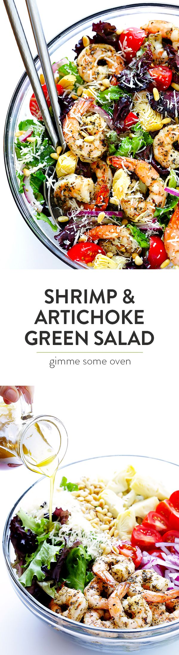 This Shrimp and Artichoke Green Salad is made with easy Italian-herb shrimp, artichoke hearts, tomatoes, pine nuts, and then it's tossed in a zesty lemon vinaigrette. It's one of my all-time favorite salads! | gimmesomeoven.com